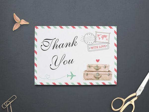 thank you card matrimonio a tema viaggi