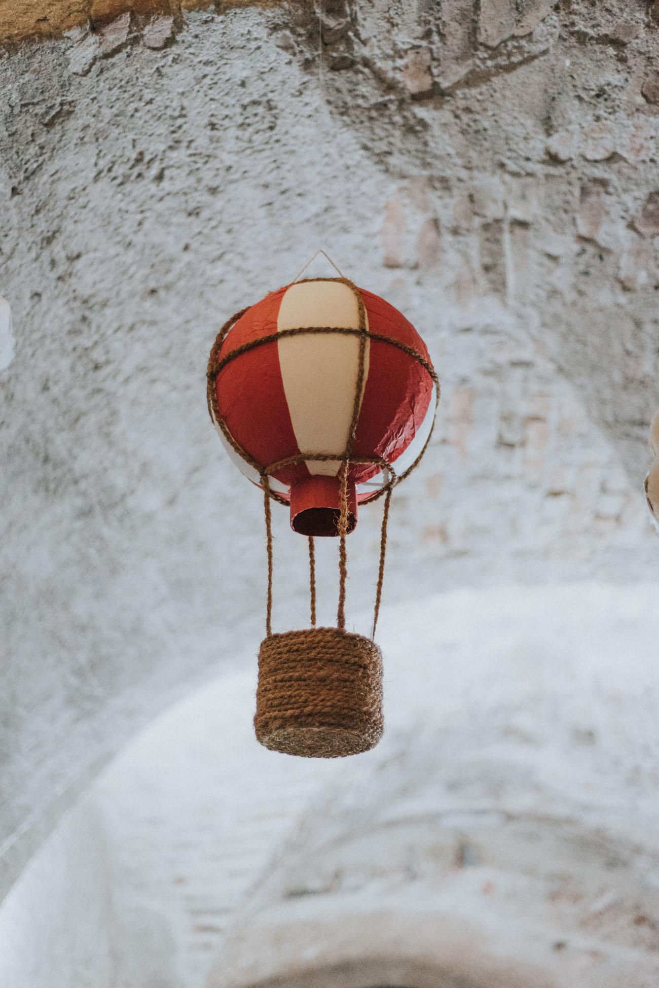 mongolfiera come decorazione ricevimento
