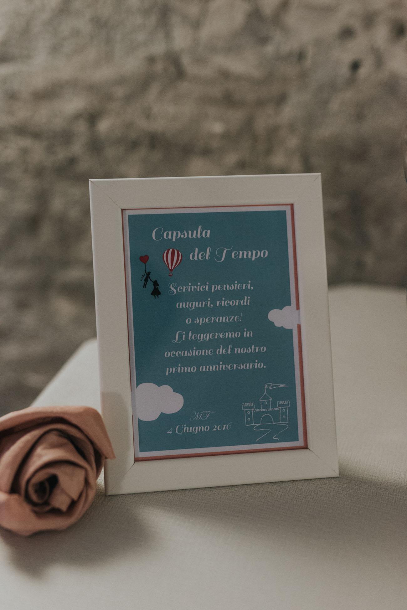 cartello capsula del tempo matrimonio