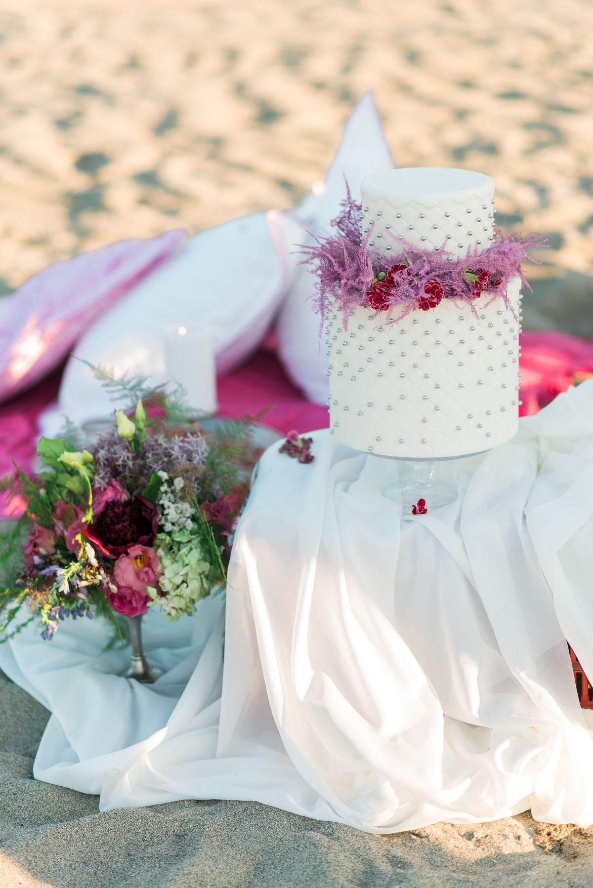 wedding cake boho chic rosa e fucsia