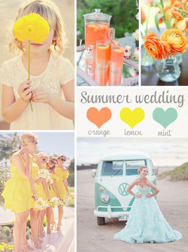 matrimonio estivo giallo, arancione e menta