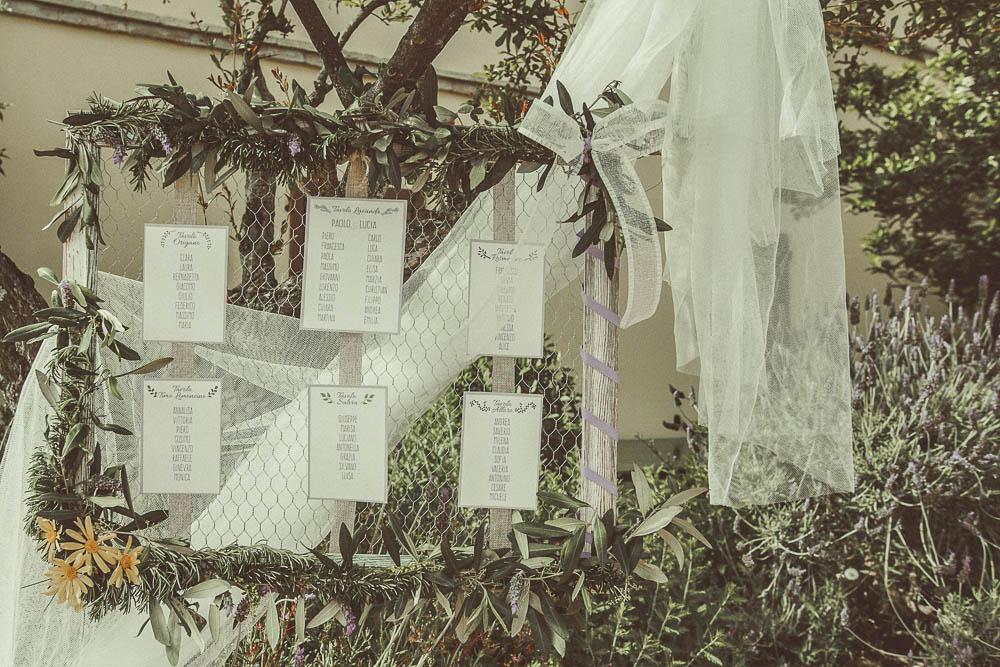 tableau de mariage a tema lavanda con foliage