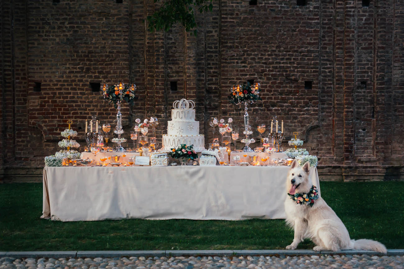 sweet table e cane con collare floreale