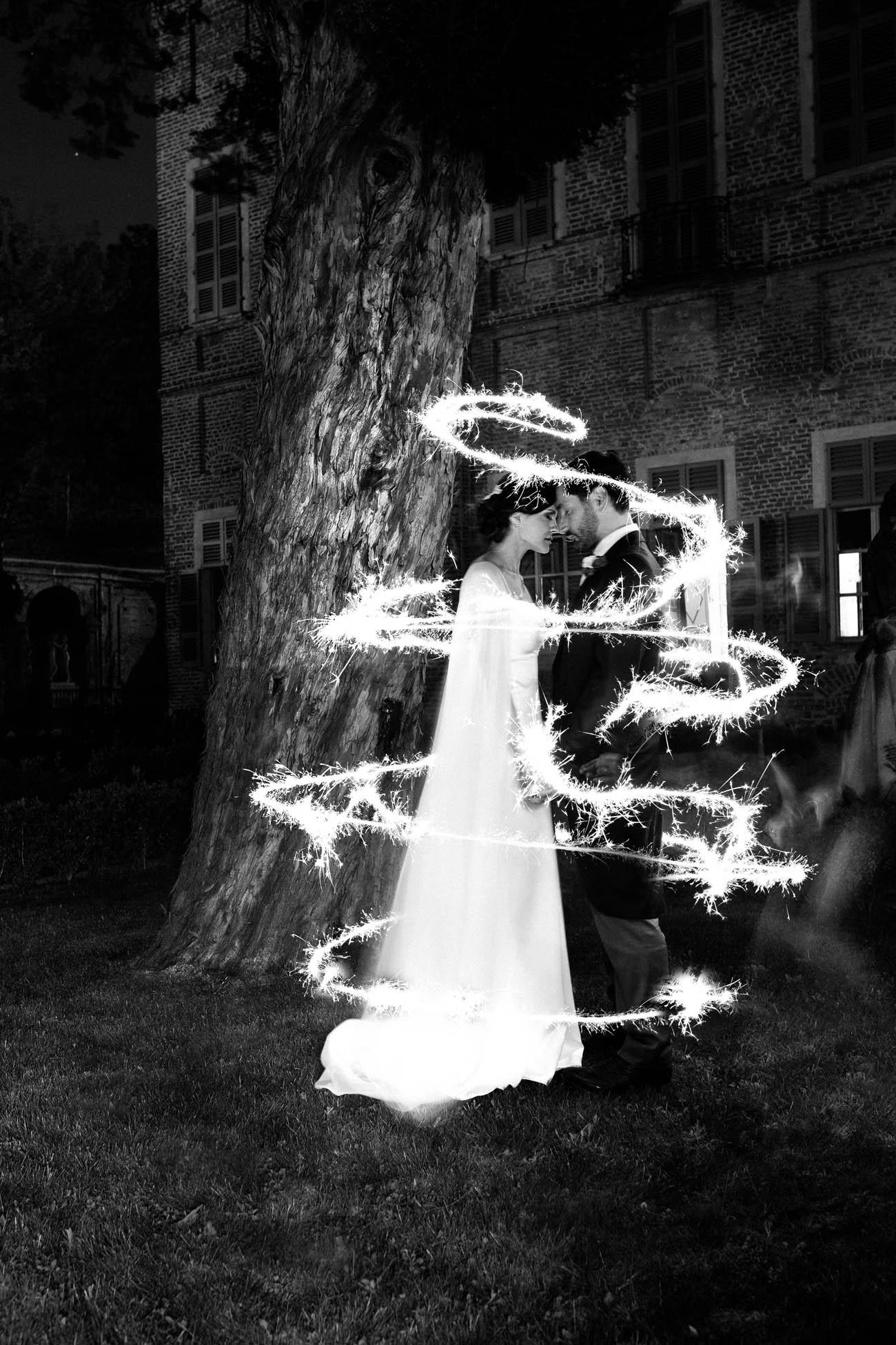 foto matrimonio con candeline scintillanti
