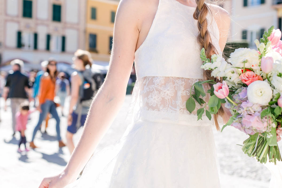 abito da sposa con crop top di marianna lanzilli