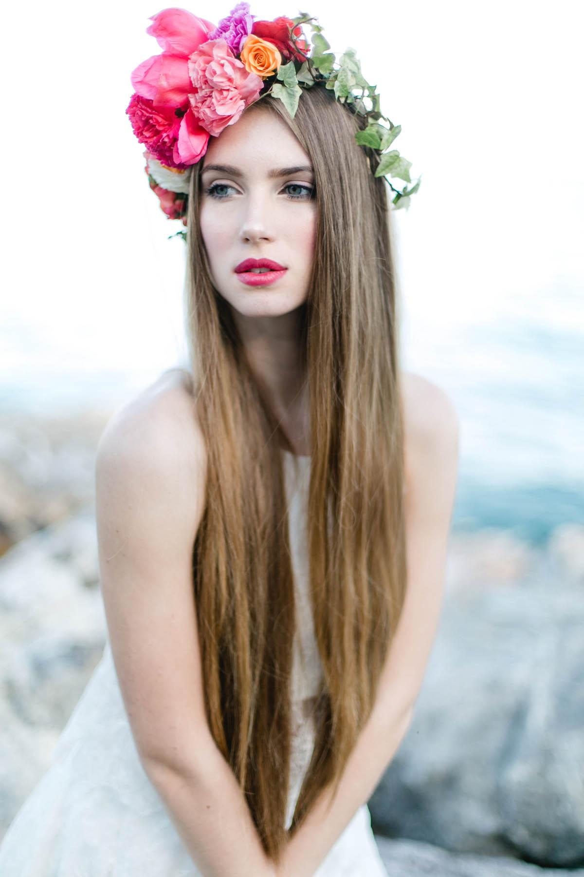 corona di fiori boho chic rosa e arancione