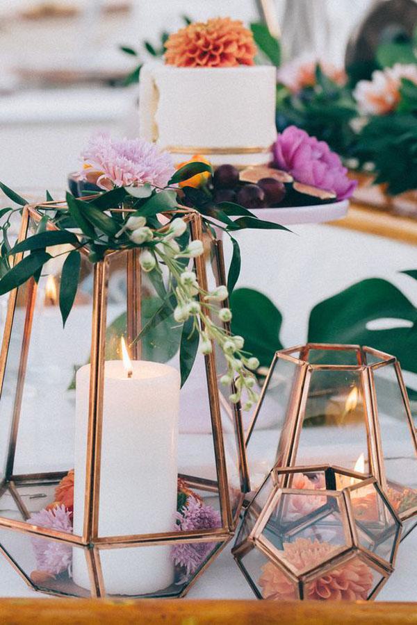 decorazioni matrimonio geometrico rame