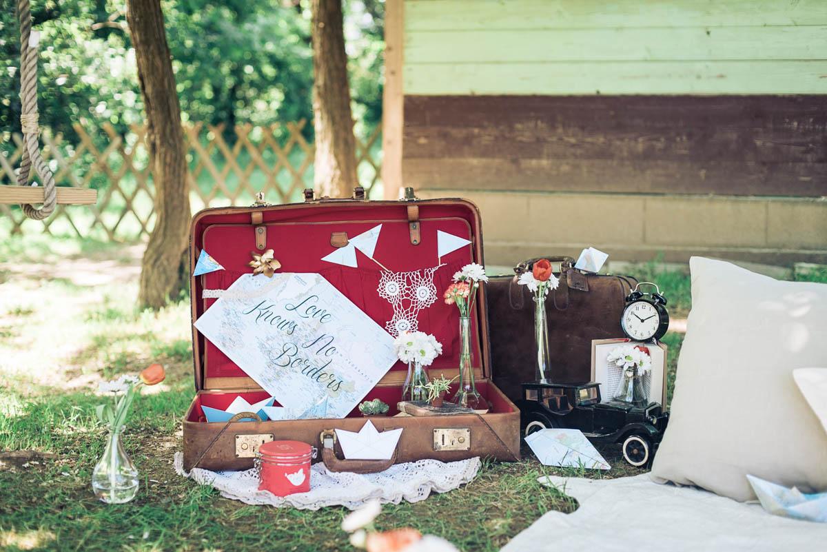 allestimento picnic a tema viaggi