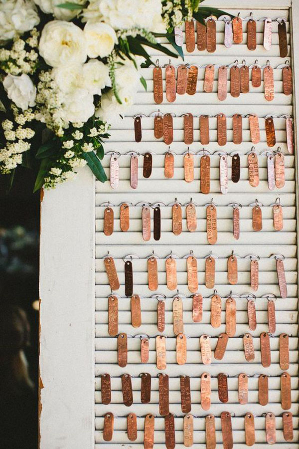 escort card matrimonio rame