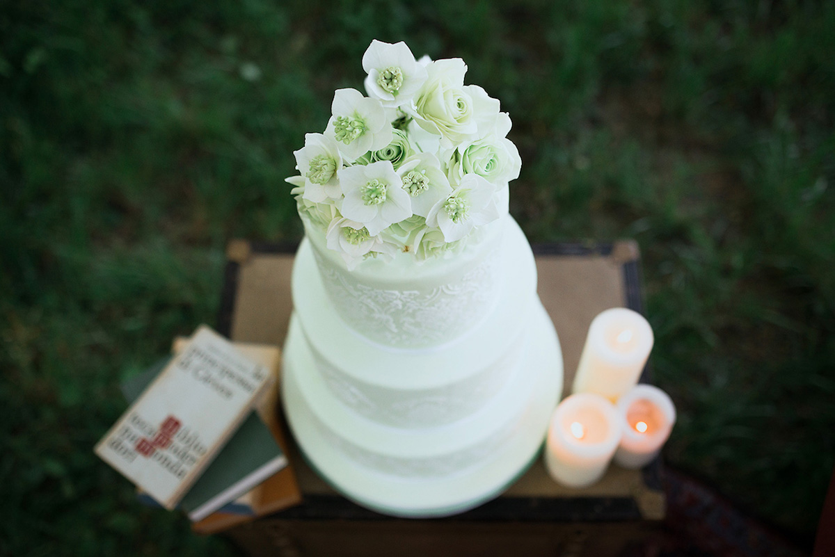 wedding cake bianca e verde