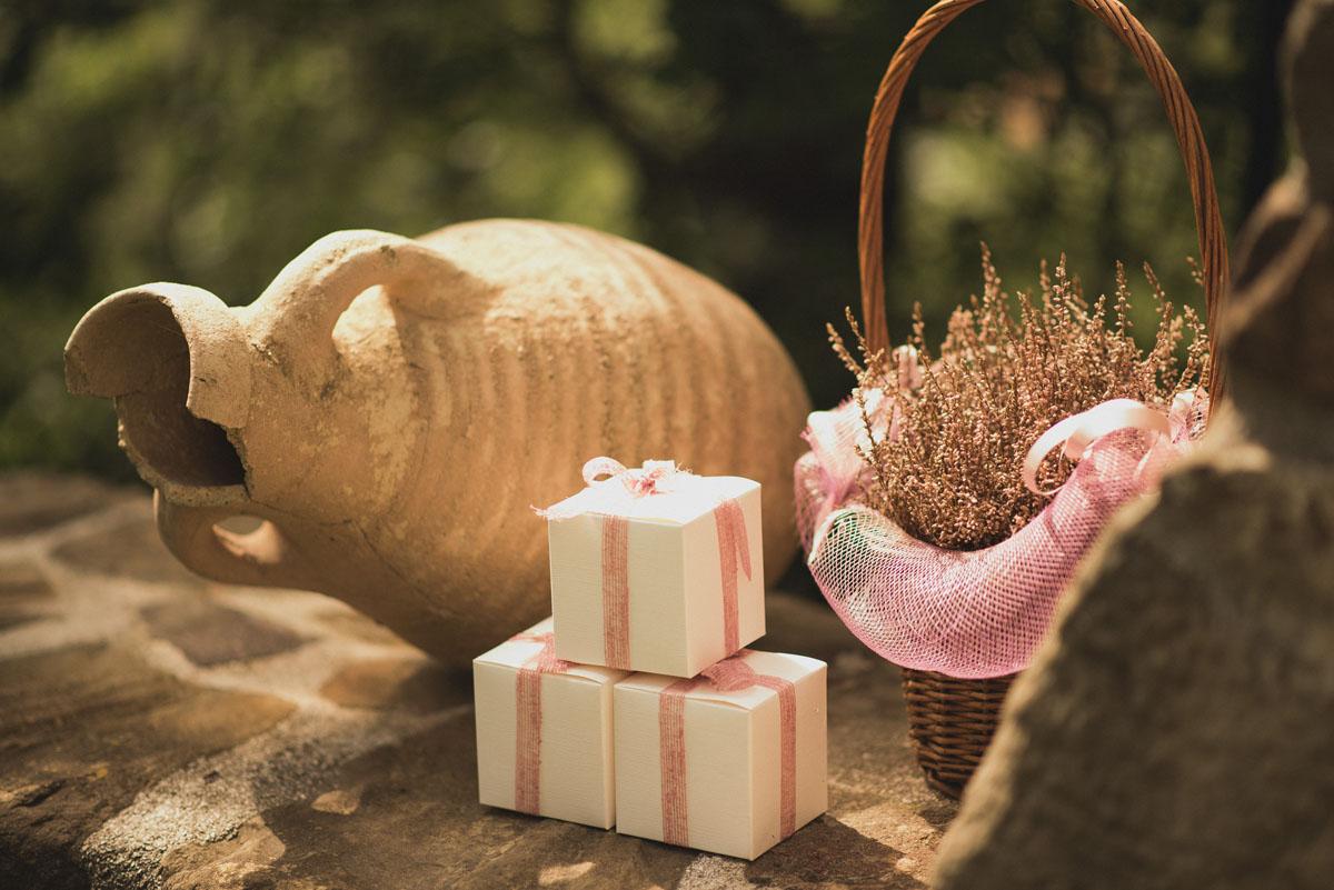 scatoline per bomboniere con nastro rosa