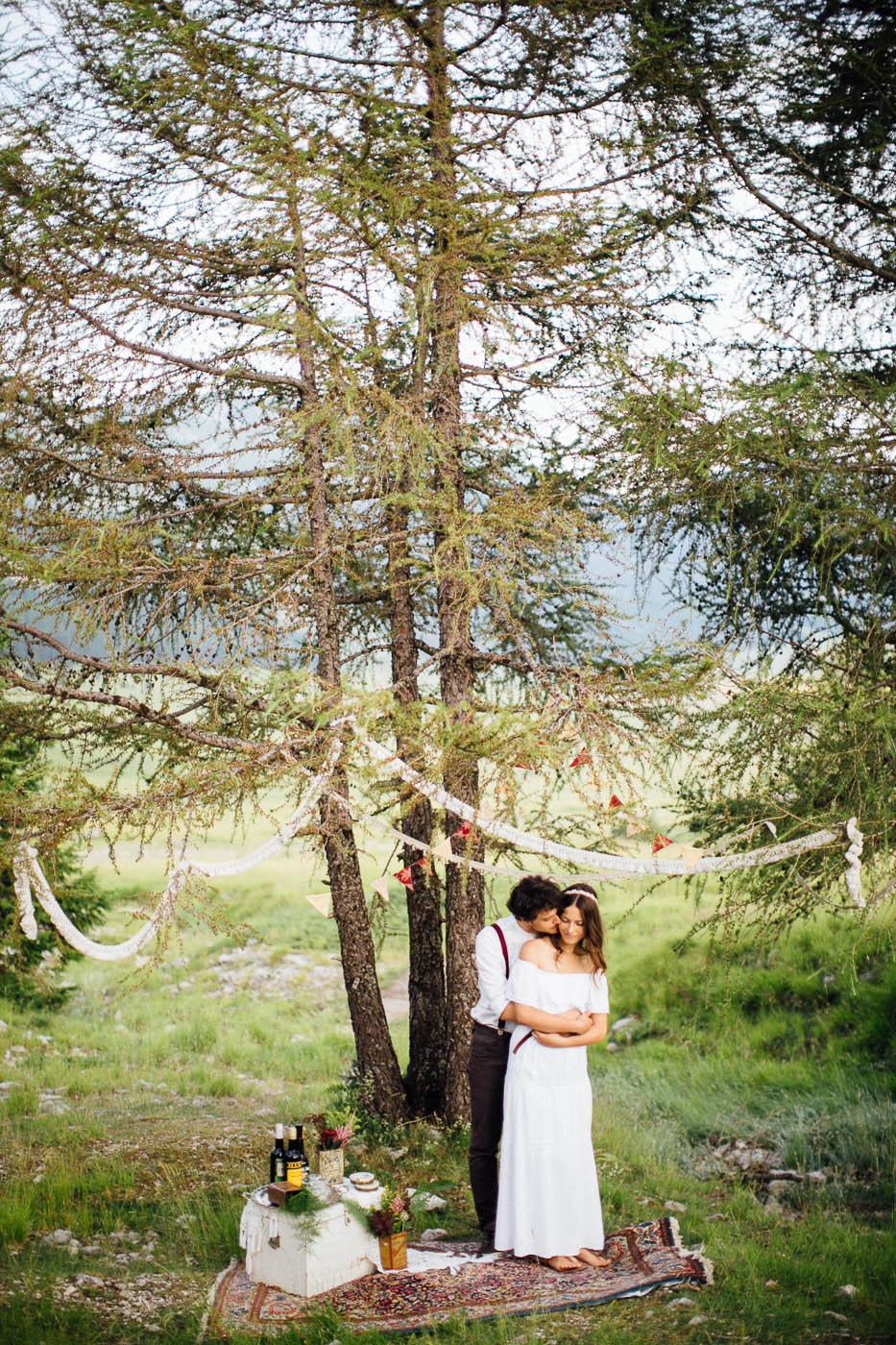 matrimonio bohémien in montagna