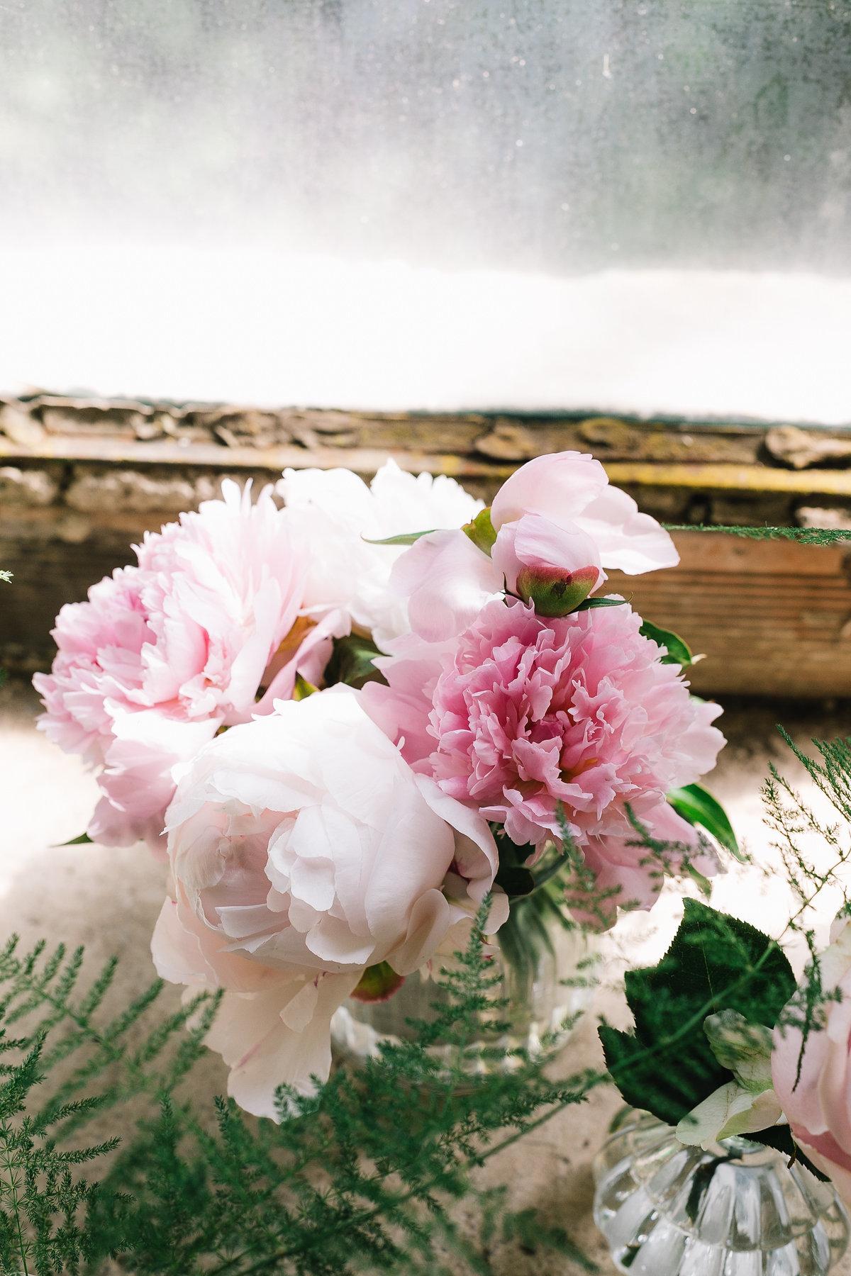 allestimento matrimonio con peonie rosa