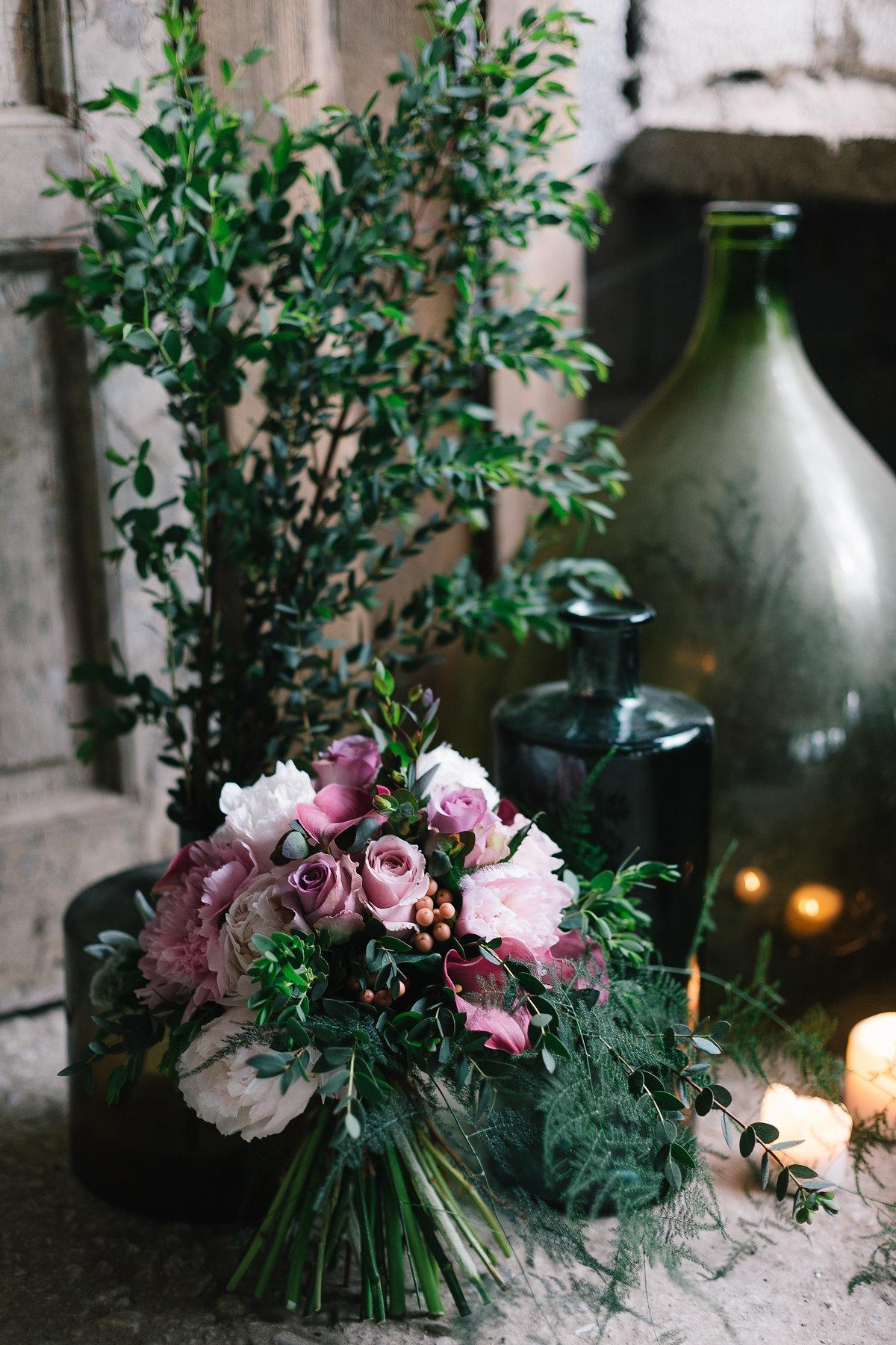 bouquet botanico rosa e verde