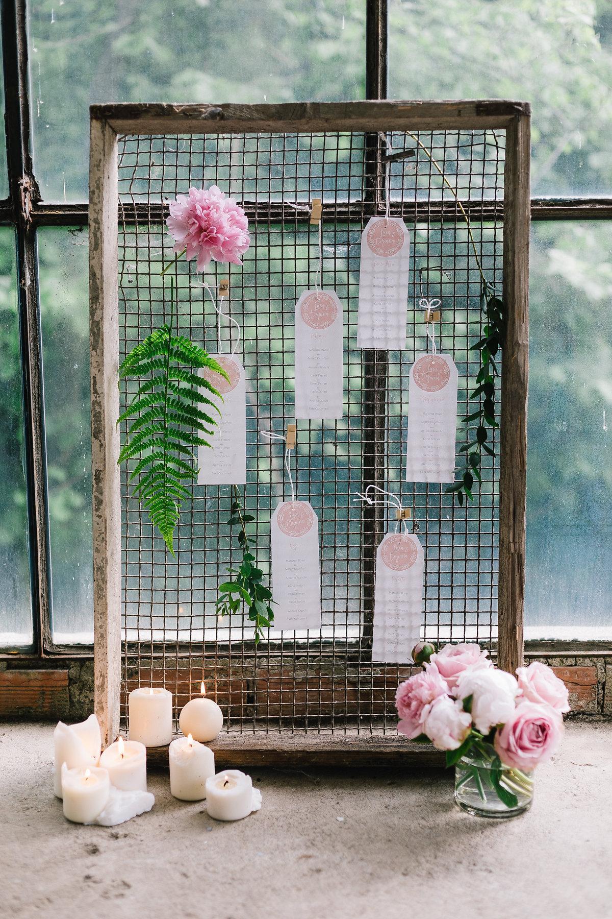 tableau de mariage botanico rosa e verde