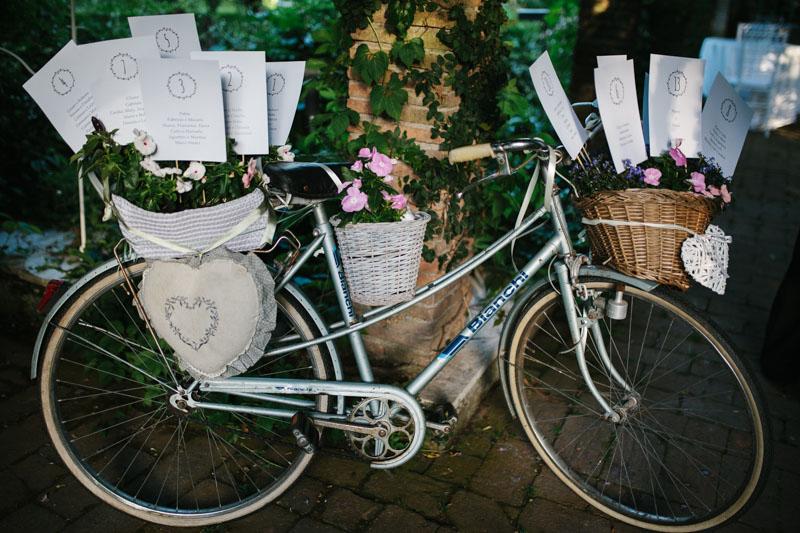 tableau de mariage con bicicletta