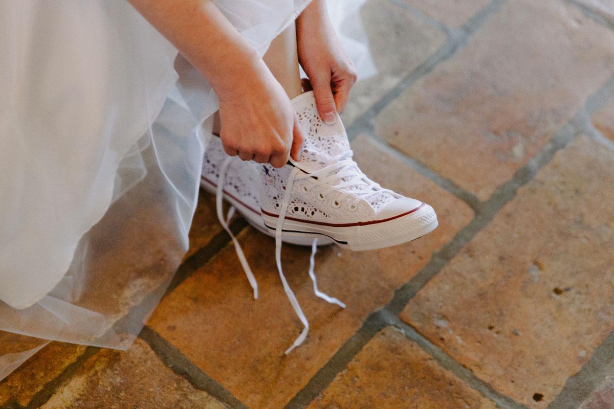 converse all star bianche per la sposa