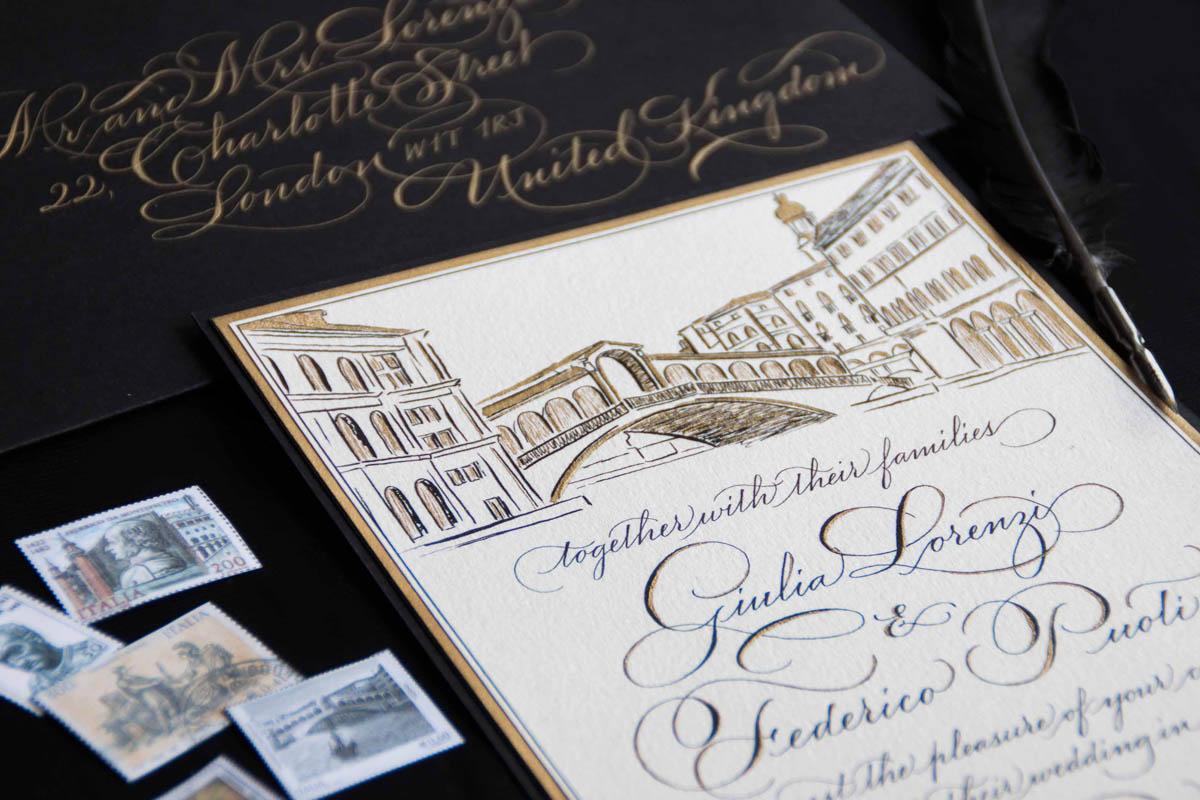 partecipazioni in nero e oro per matrimonio a venezia