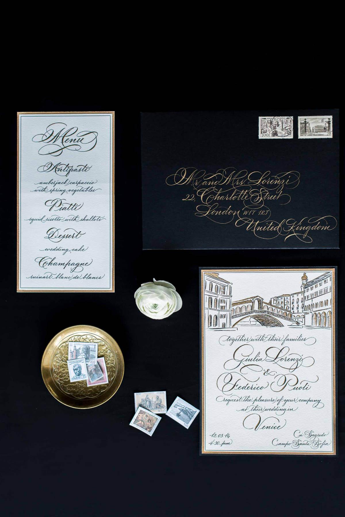coordinato grafico matrimonio calligrafico nero e oro