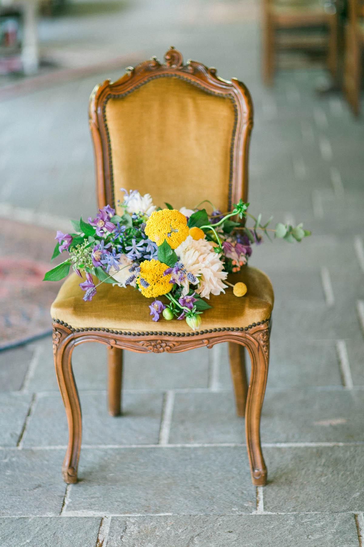 bouquet giallo e lilla