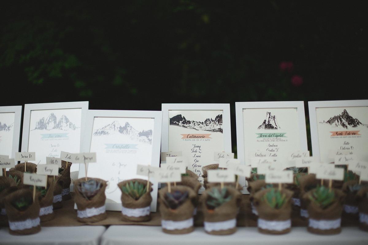 tableau de mariage ispirato alla montagna con piante succulente