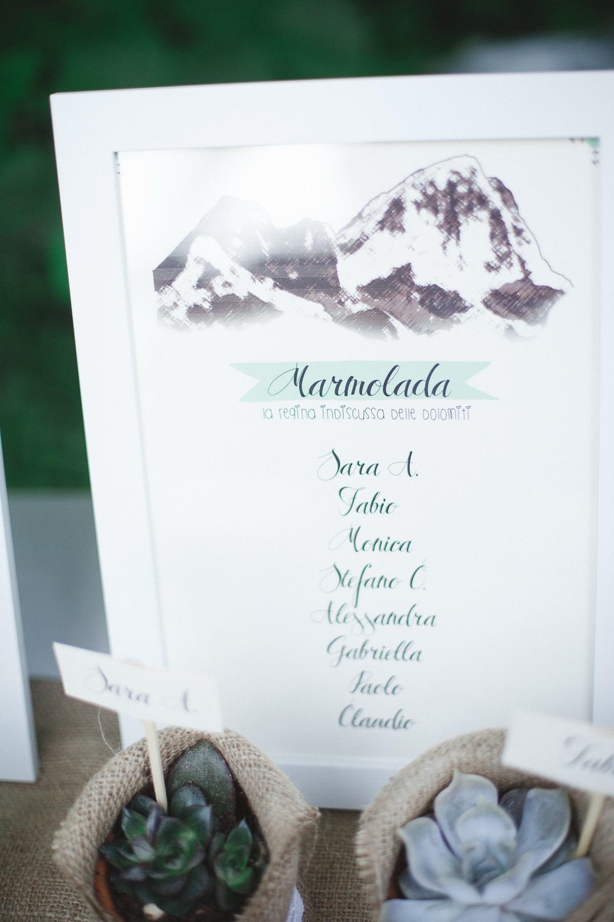 tableau de mariage ispirato alla montagna