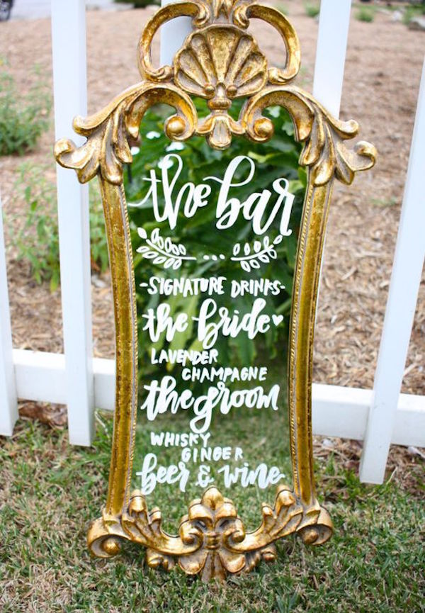 cartello bar matrimonio con specchio
