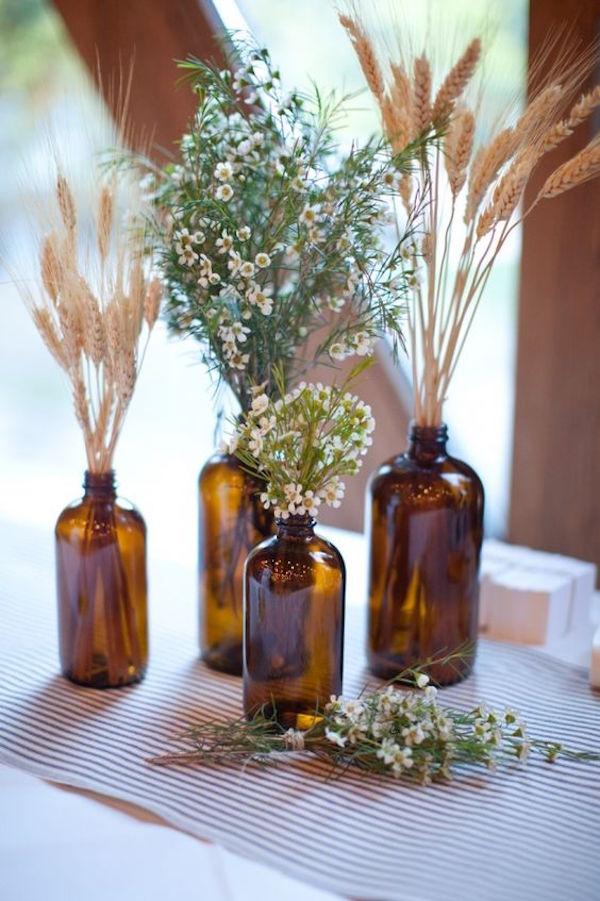 decorazioni con spighe matrimonio in autunno