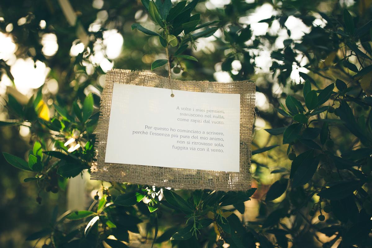cartello con poesia matrimonio country