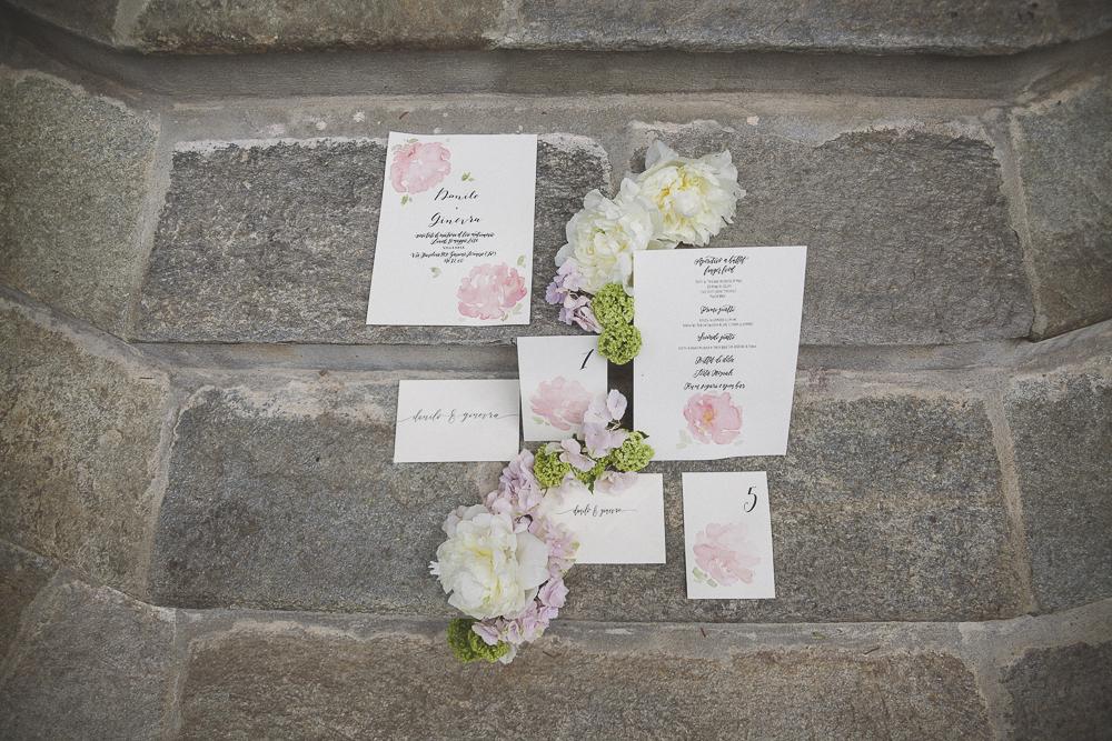 partecipazioni matrimonio con peonie acquerello
