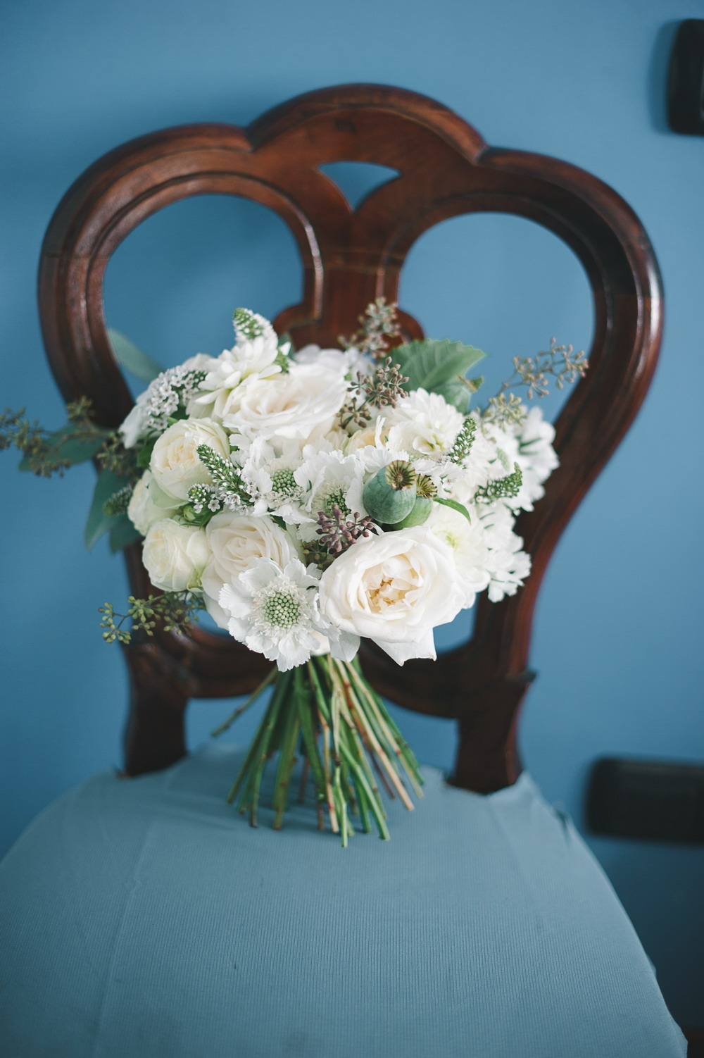 bouquet botanico bianco e verde