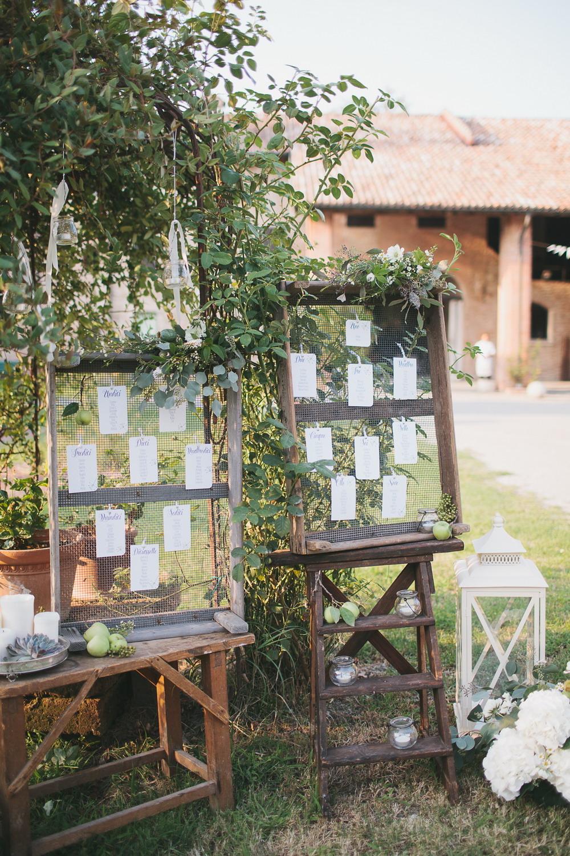 Tableau Matrimonio Rustico : Sfumature di verde per un matrimonio fine estate