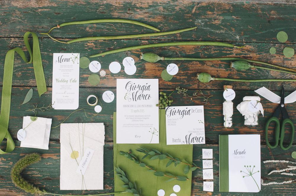 coordinato grafico matrimonio verde