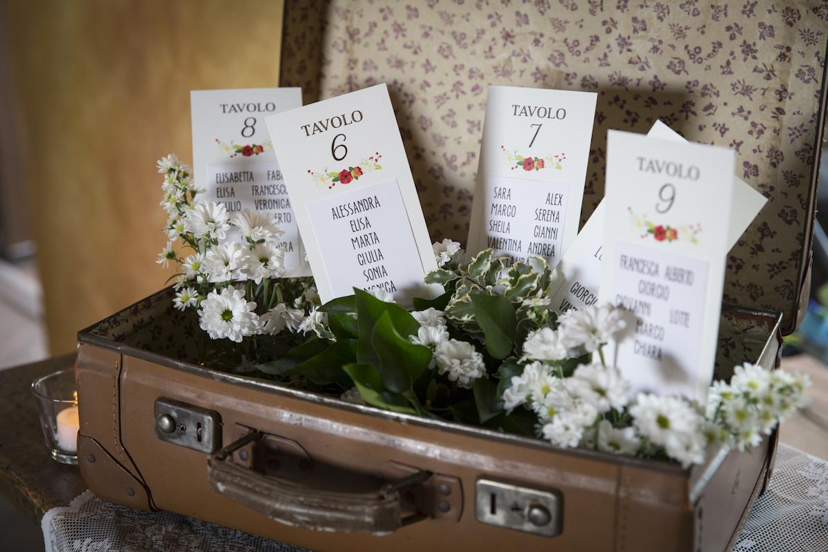 tableau de mariage con valigia vintage
