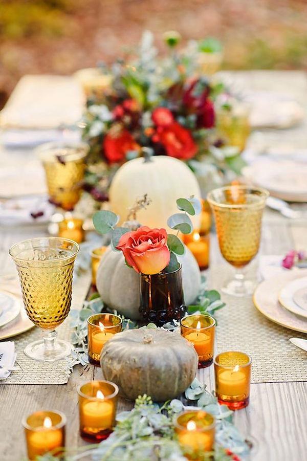 runner con zucche matrimonio in autunno