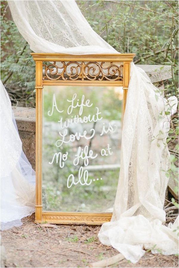 specchio cartello matrimonio