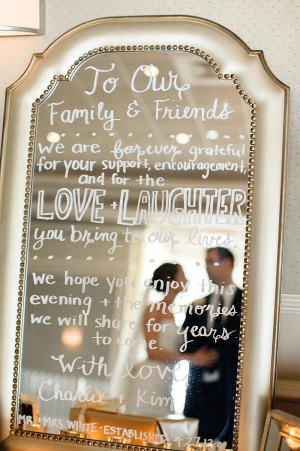 specchio come cartello matrimonio