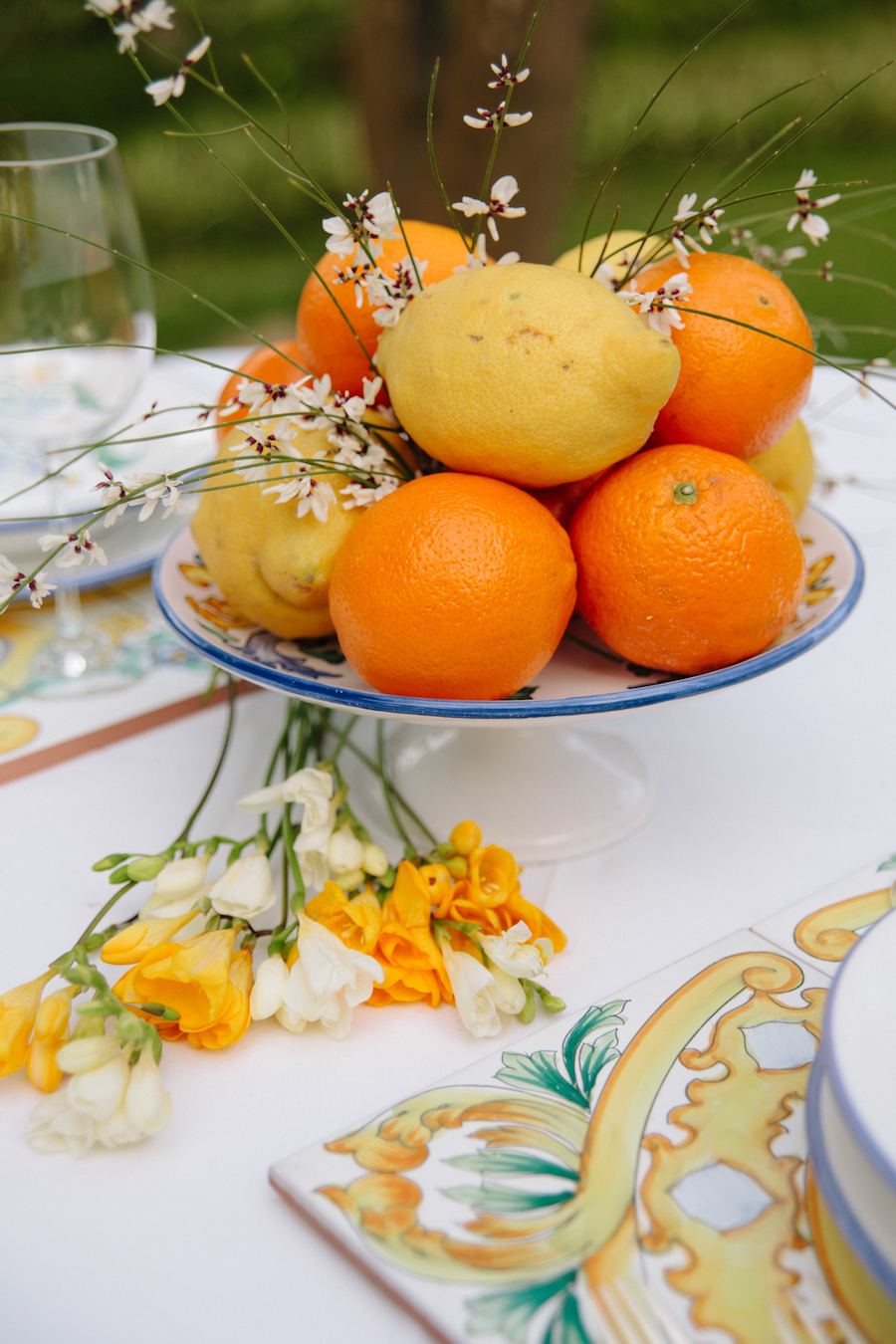 centrotavola con limoni e arance