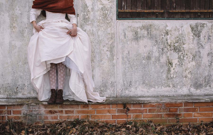 sposa invernale con stivaletti