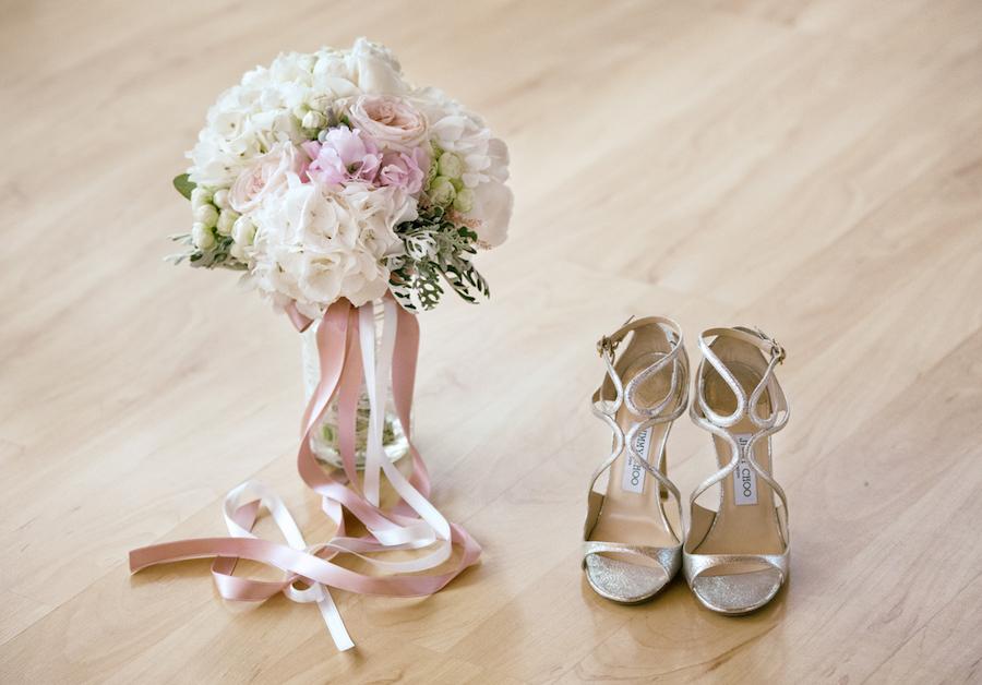 bouquet bianco e rosa