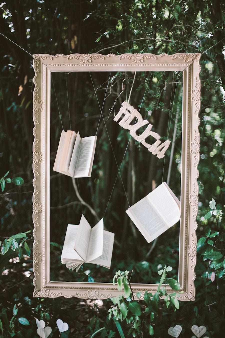 allestimento matrimonio a tema libri
