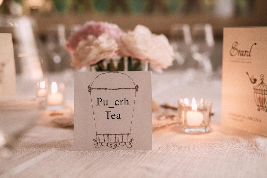 segnatavolo a tema tè