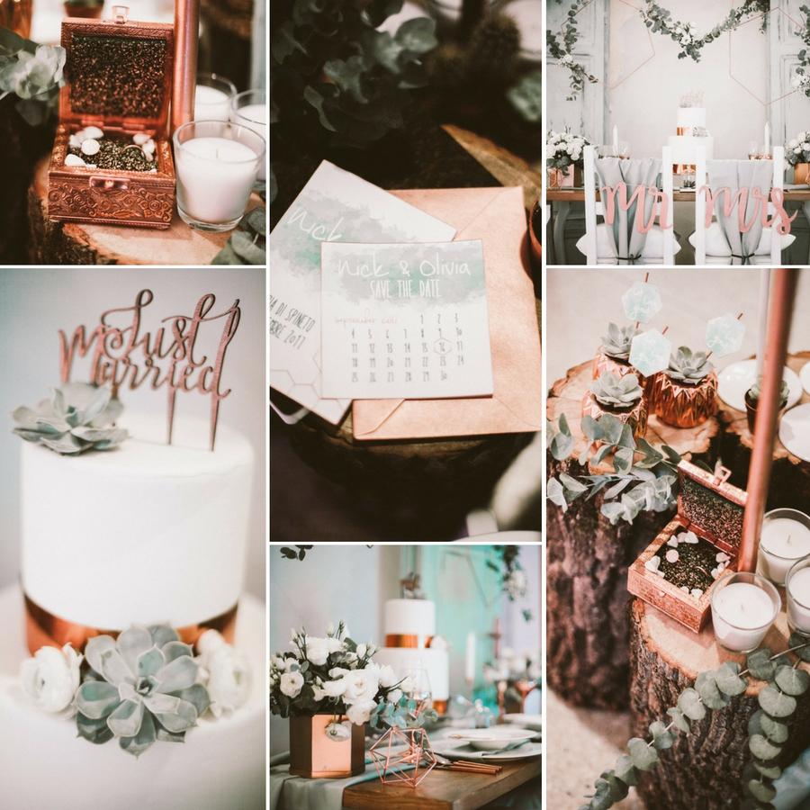 weddinglam - allestimento per matrimonio rame botanico
