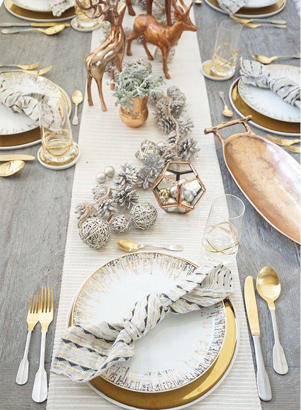 tavola di natale oro e rame