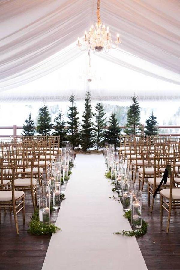 cerimonia matrimonio con abeti