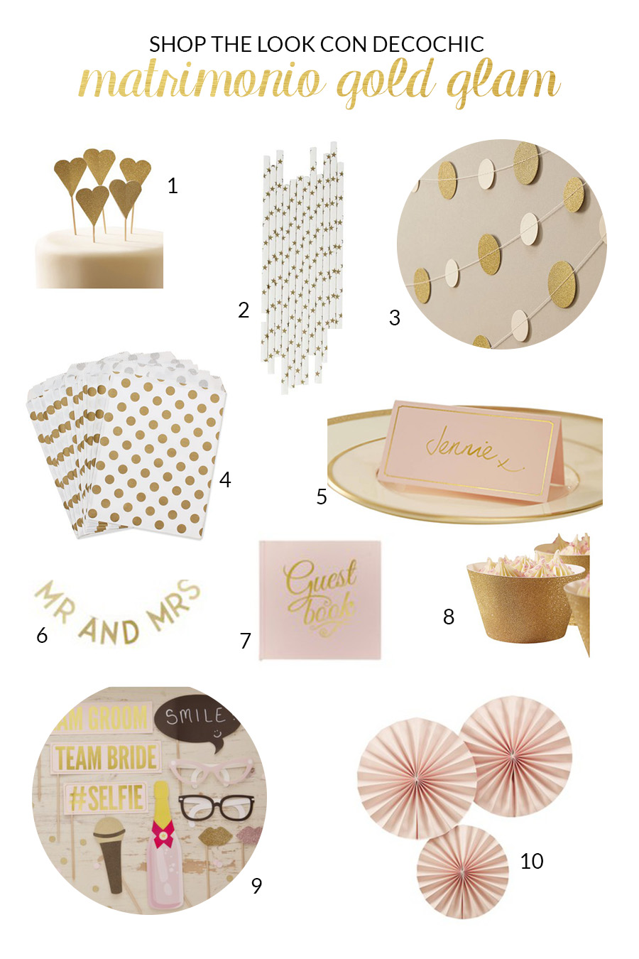decorazioni matrimonio oro e rosa - deco chic