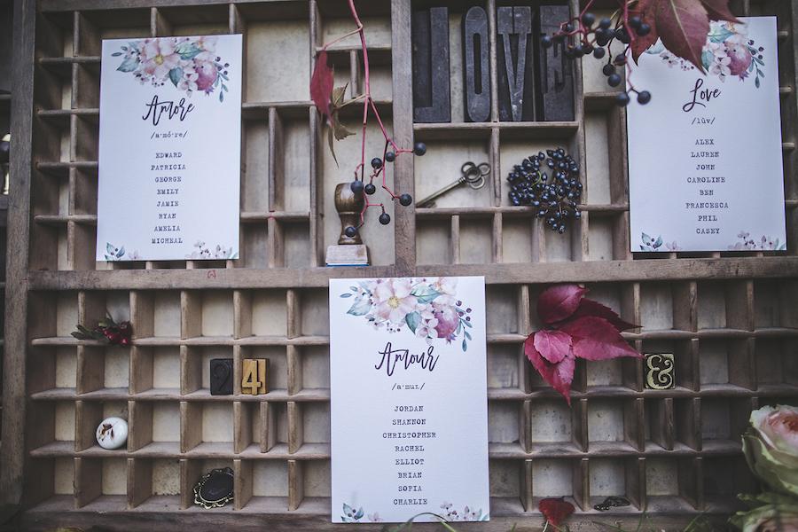 tableau de mariage tipografico