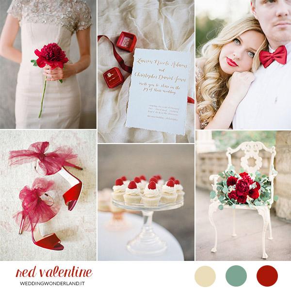 matrimonio rosso e avorio a san valentino