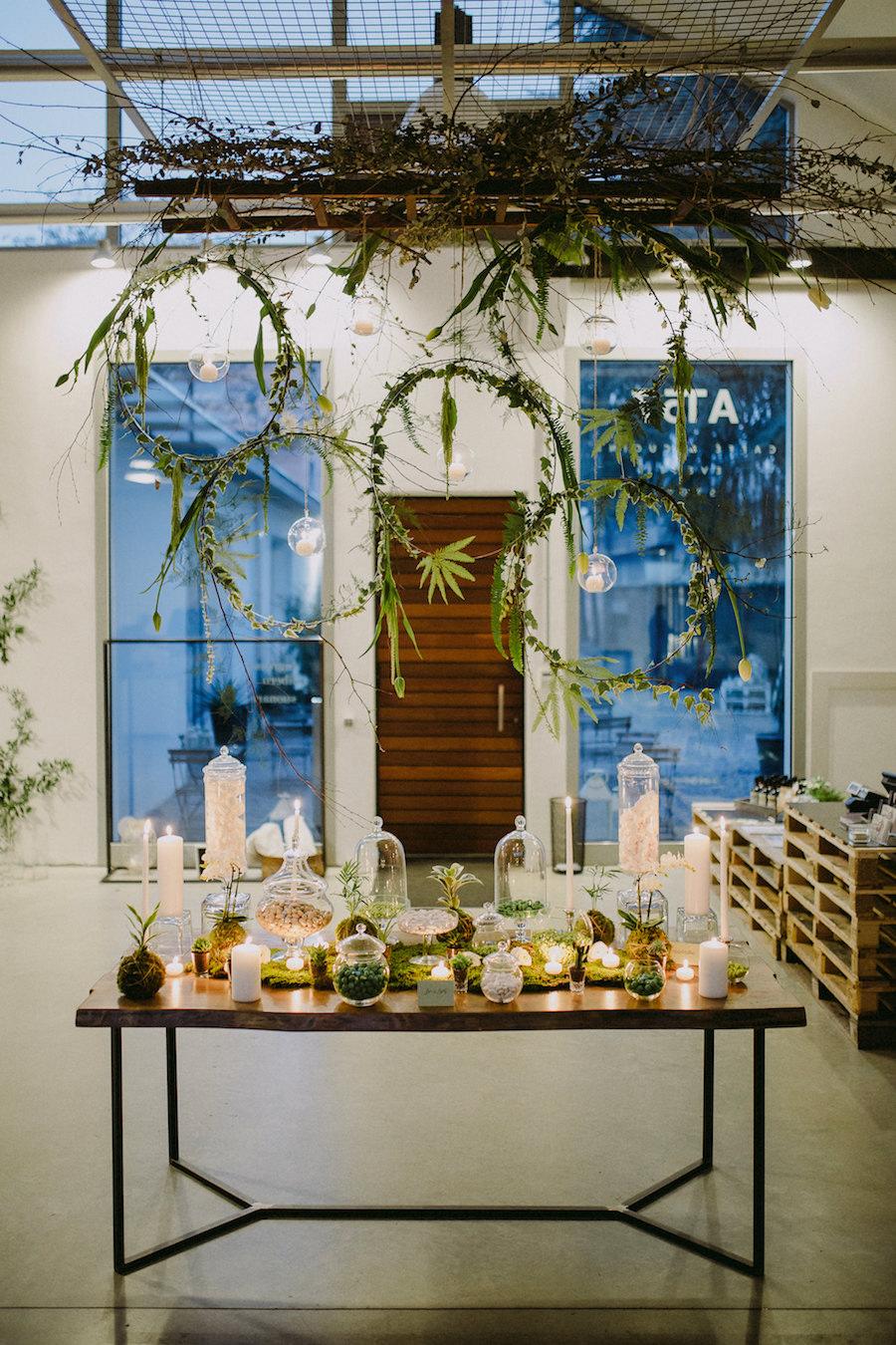 sweet table industriale greenery
