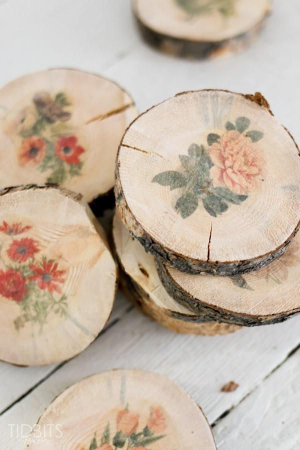 sezioni di tronco floreali fai da te